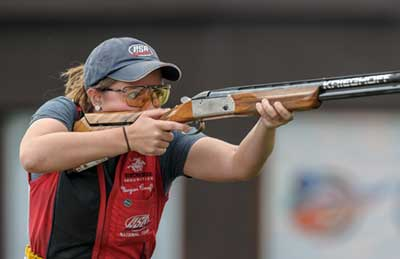 Silver medalist Morgan CRAFT of the United States of America competes in the Skeet Women Finals at the Gabala Shooting Club during Day 1 of the ISSF World Cup Rifle/Pistol/Shotgun on August 8, 2015 in Gabala, Azerbaijan. (Photo by Nicolo Zangirolami)