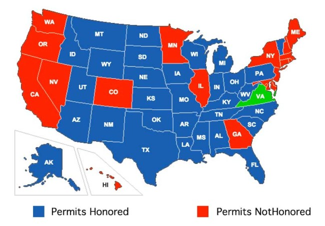 States that recognize Virginia Concealed Carry Permits